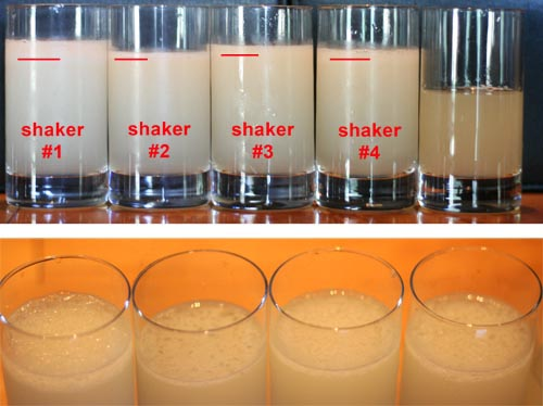 The very first shake. All other pictures are presented in the same order.  These are the drinks right after they were poured. The red line is where the crystals and foam stopped. On the bottom is a close-up of the tops. On the top far-right is a glass of measured but unshaken daiquiri.