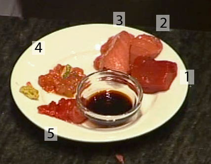 1) Lean Akami; 2) medium fatty chutoro; 3) very fatty otoro; 4) meat scrapings from the skin and fins; 5) meat scrapings from around the spine. I ate them. They were great.